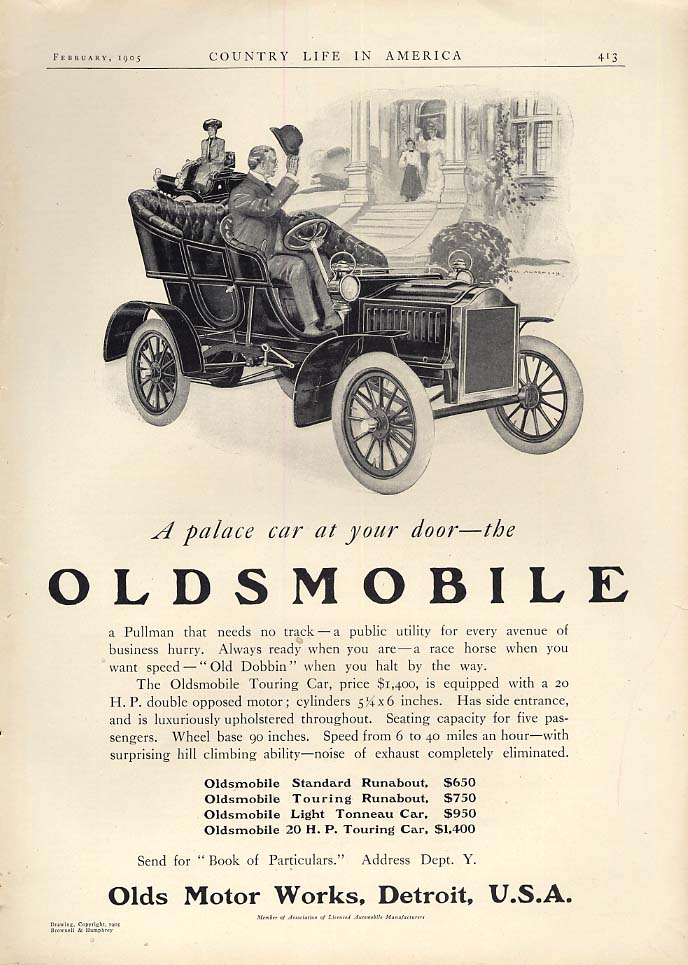 A palace car at your door - Oldsmobile Touring Car ad 1905 CL