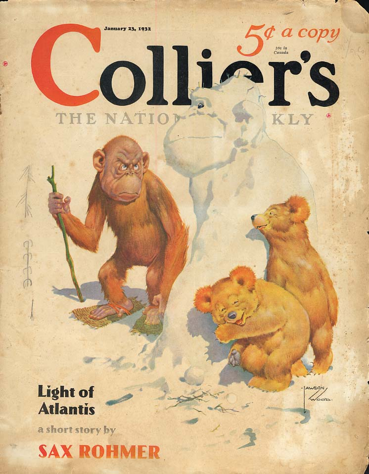COLLIER'S COVER 1932 bears build monkey snowman by Lawson Wood
