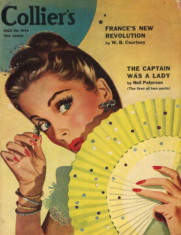 COLLIER'S COVER 1956 woman's eyelash loose behind fan by Jon Whitcomb