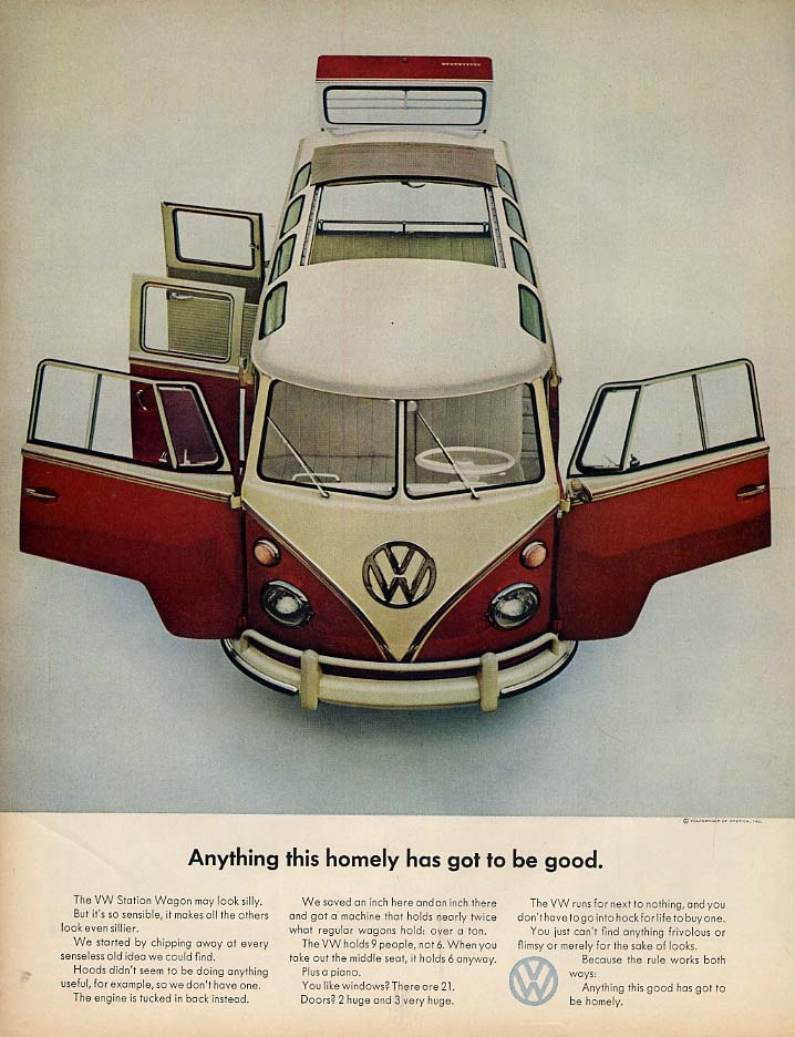 Anything this homely has got to be good Volkswagen Station Wagon ad 1964 L