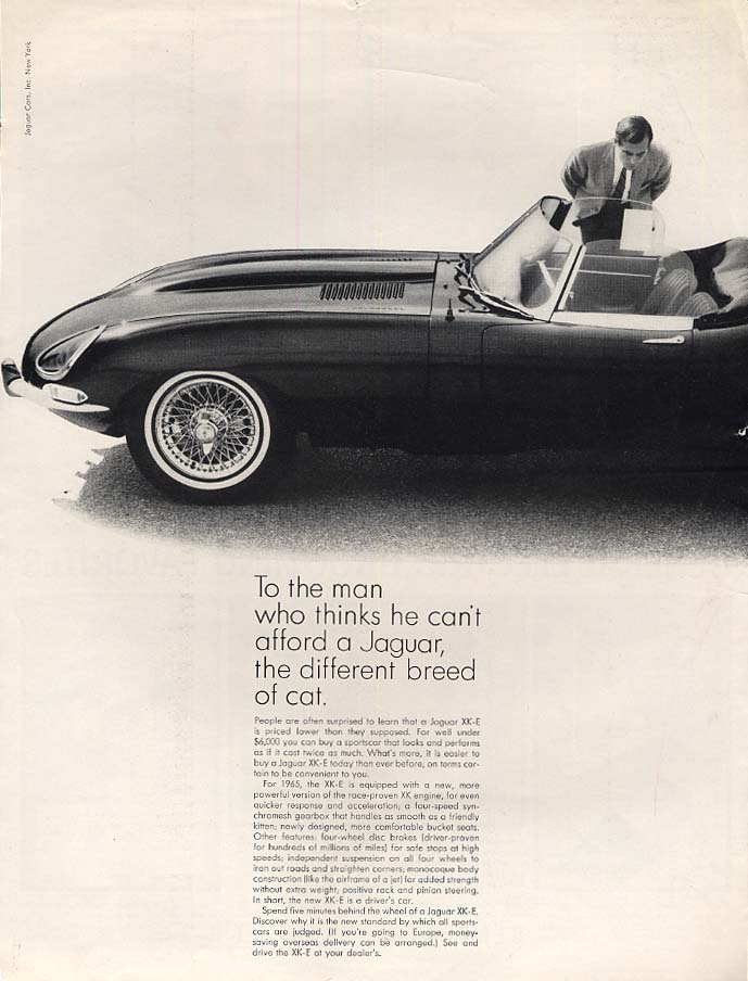 To the man who thinks he can't afford a Jaguar XK-E ad 1965 ESQ