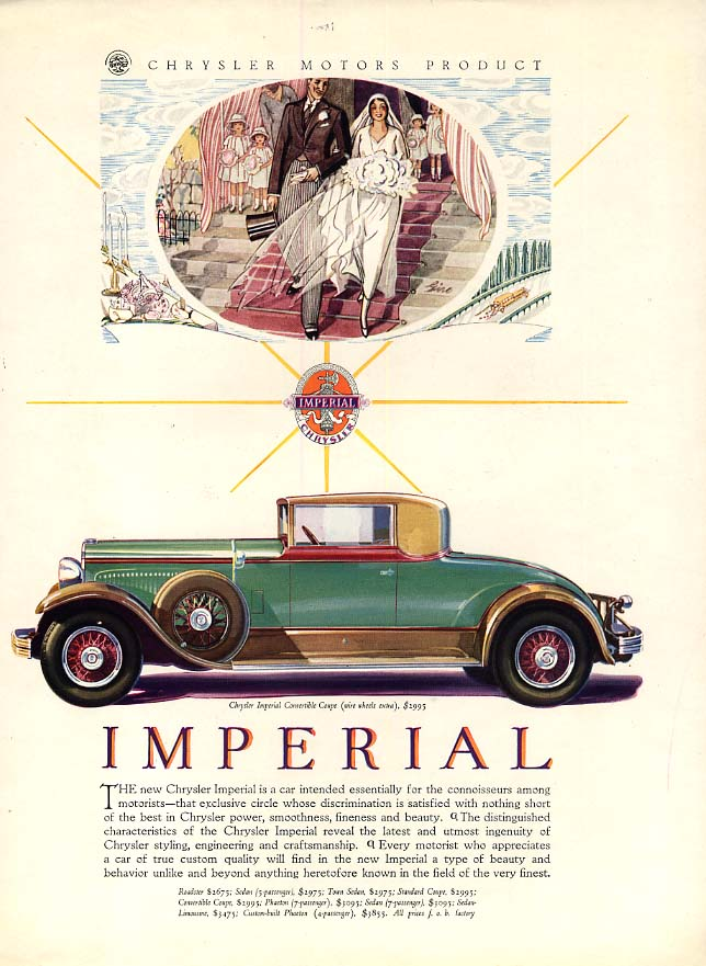 Image for Essentially for connoisseurs Chrysler Imperial Convertible Coupe ad 1929 VF