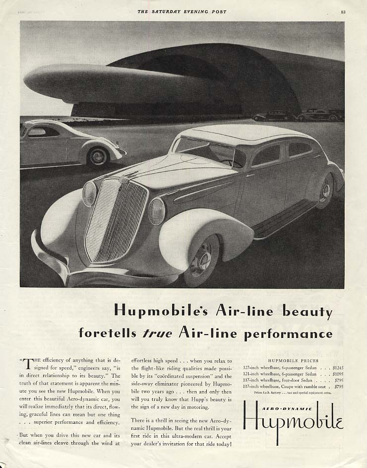 Air-line beauty foretells true Air-line performance Hupmobile ad 1934 SEP