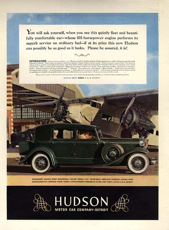 Can it possibly be as good as it looks? Hudson 8 Brougham ad 1932 Ford Tri-motor
