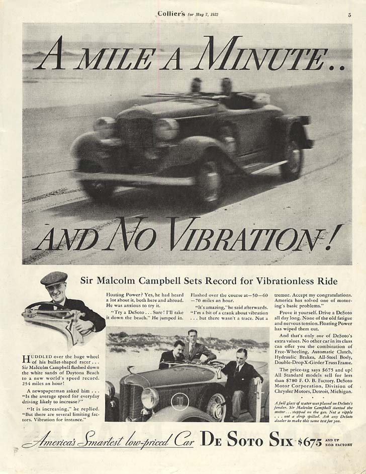 A mile a minute & no vibration! De Soto Six Roadster ad 1932 COL