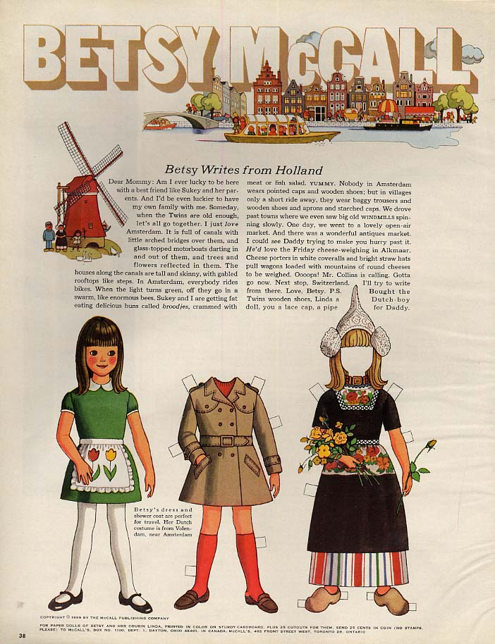 Image for Betsy McCall Writes from Holland paper doll page 7 1969
