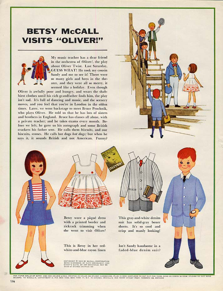 "Image for Betsy McCall visits ""Oliver"" paper doll page 5 1963"