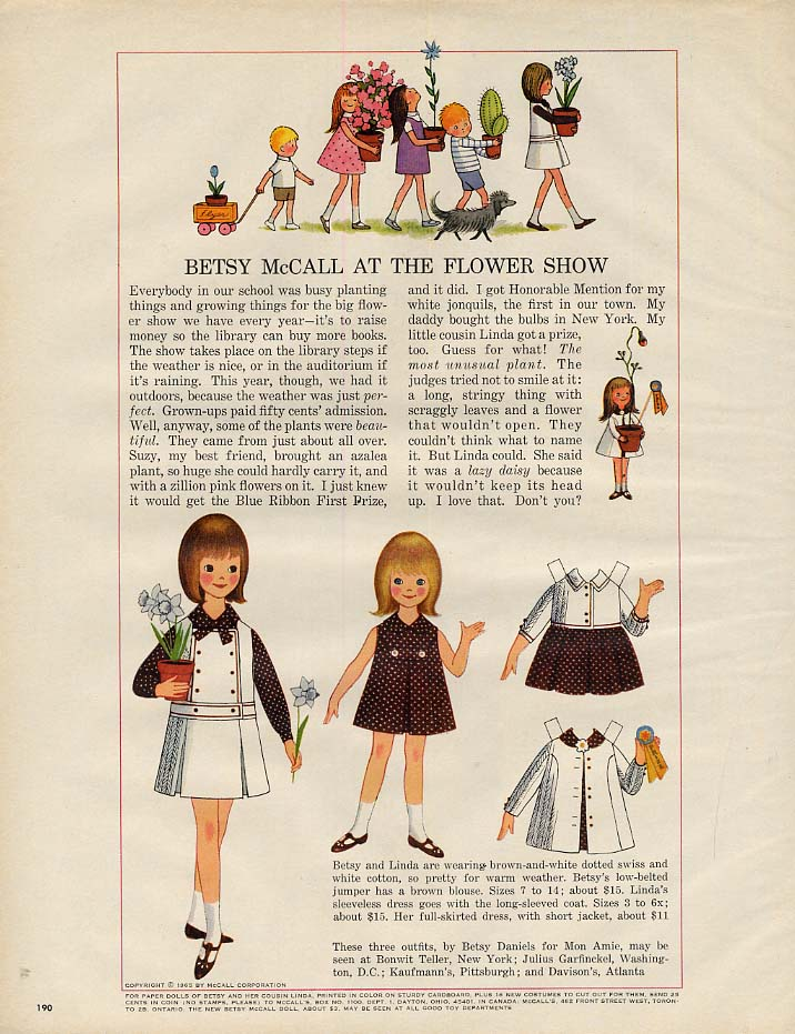 Image for Betsy McCall at the Flower Show paper doll page 5 1965
