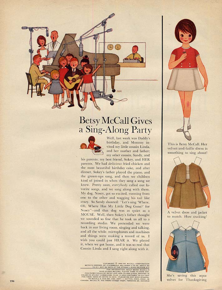 Image for Betsy McCall Gives a Sing-Along Party paper doll page 11 1963