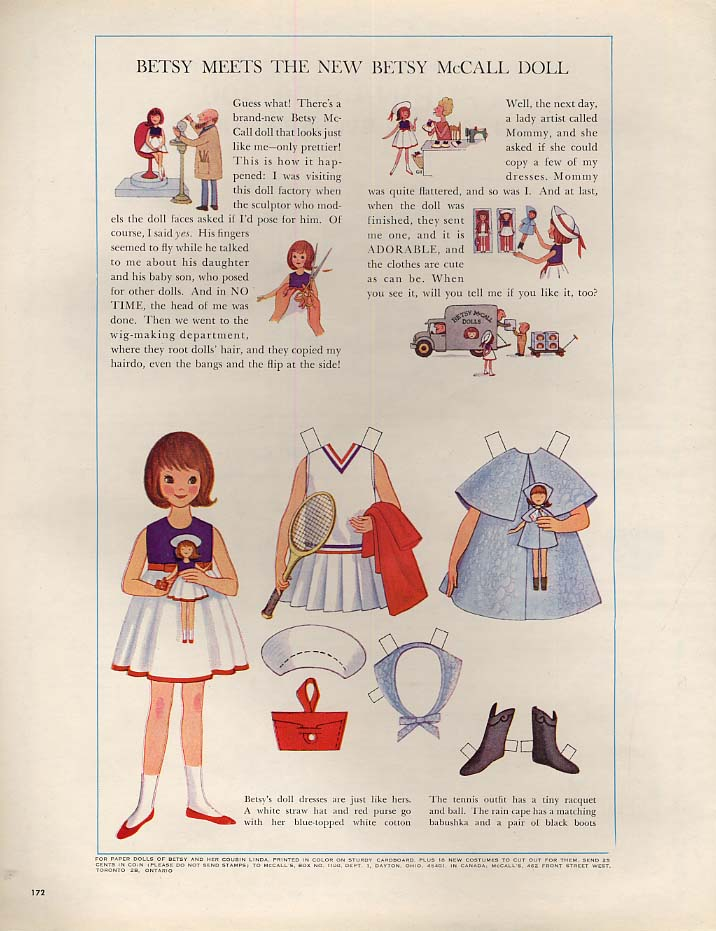 Image for Betsy meets the new Betsy McCall Doll paper doll page 1- 1964 tennis outfit