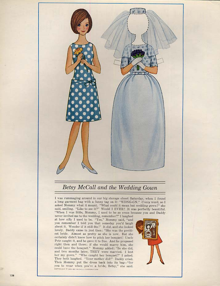 Betsy McCall and the Wedding Gown paper doll page 6 1964
