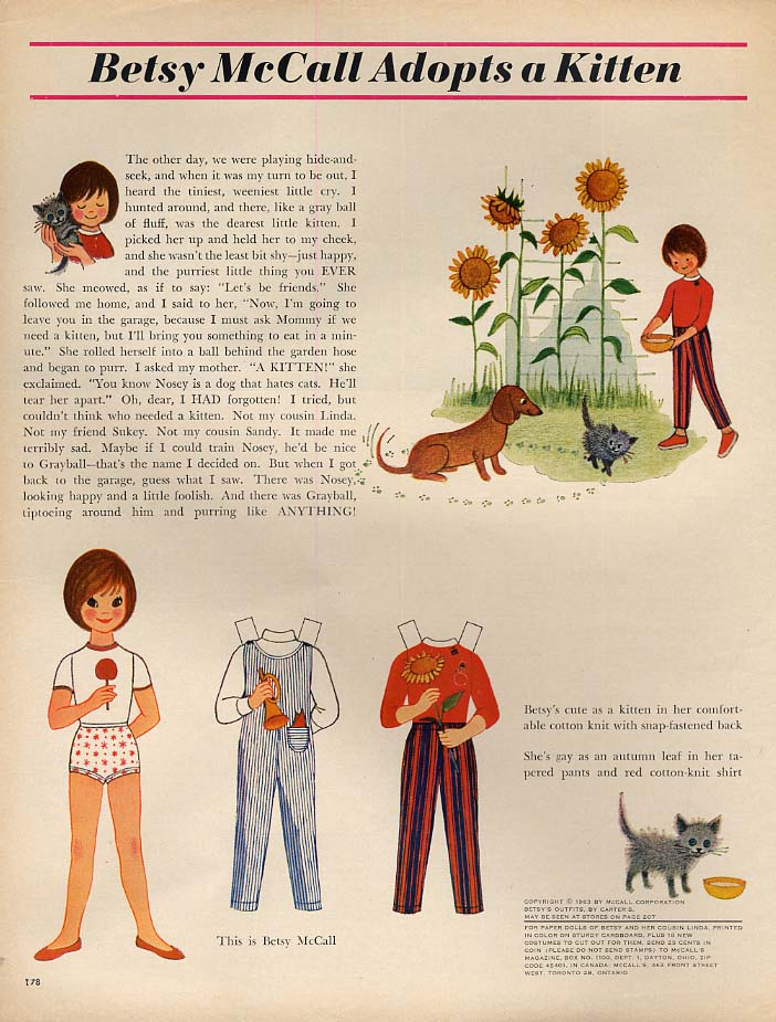 Image for Betsy McCall Adopts a Kitten paper doll page 9 1963