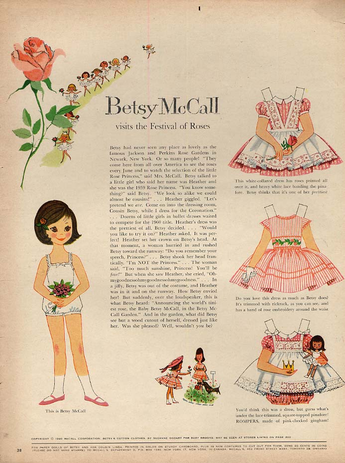 Image for Betsy McCall visits the Festival of Roses paper doll page 6 1960
