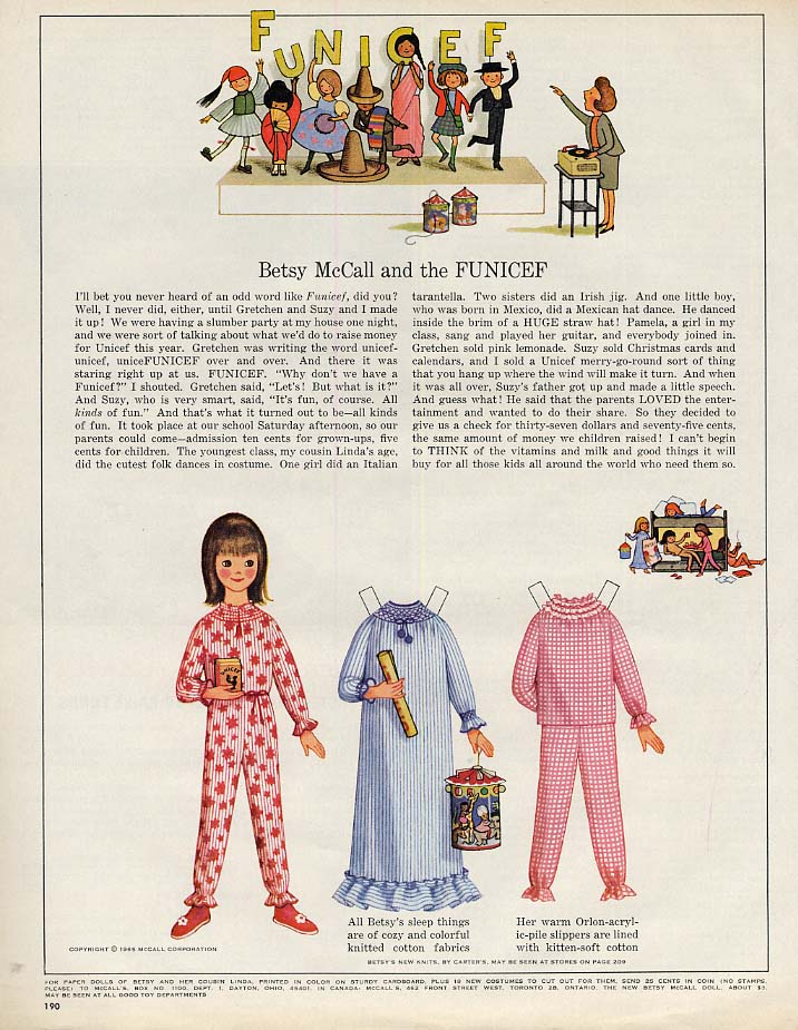 Image for Betsy McCall and the UNICEF paper doll page 10 1965