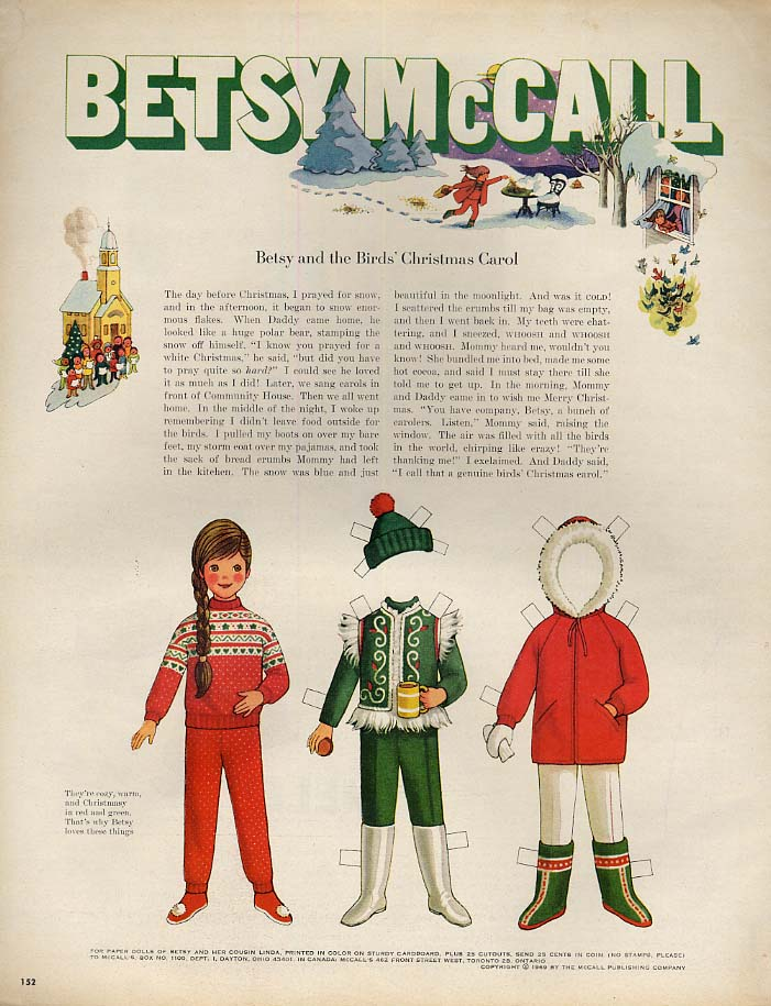 Betsy McCall & the Birds' Christmas Carol paper doll page 12 1969