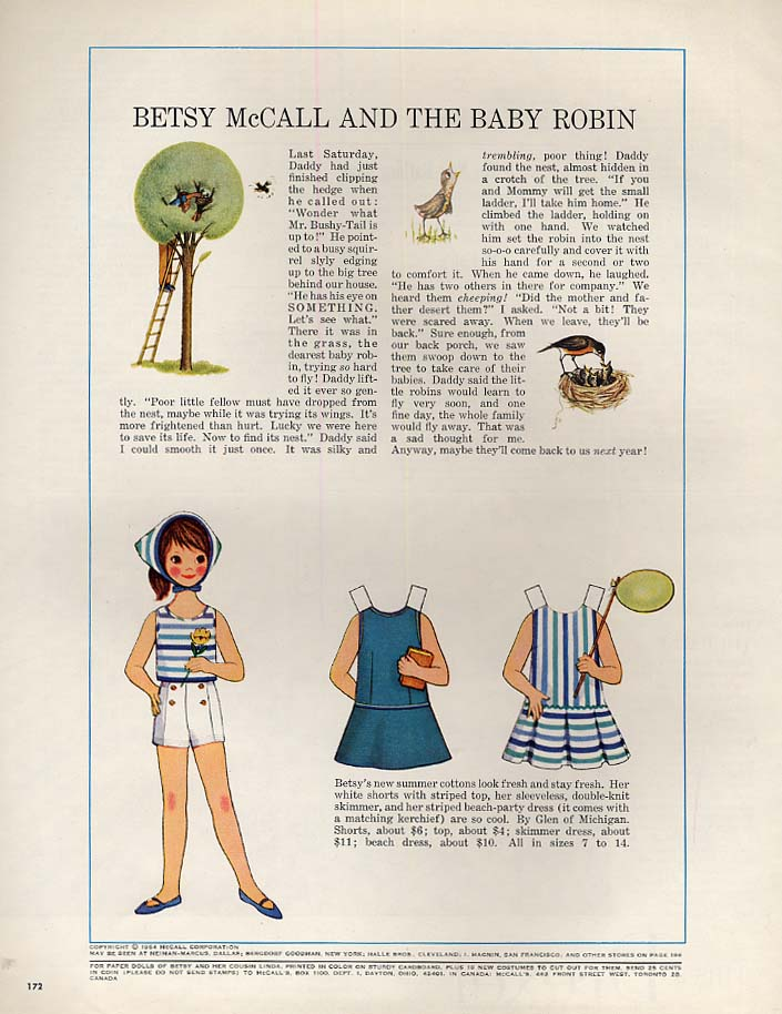 Image for Betsy McCall and the Baby Robin paper doll page 5 1964
