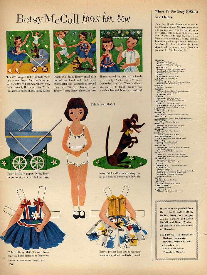 Image for Betsy McCall loses her bow paper doll page 5 1954