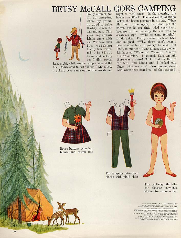 Image for Betsy McCall goes camping paper doll page 7 1963