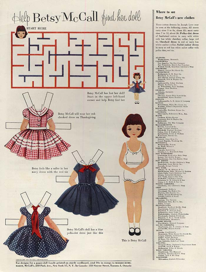 Image for Help Betsy McCall find her doll paper doll page 11 1954