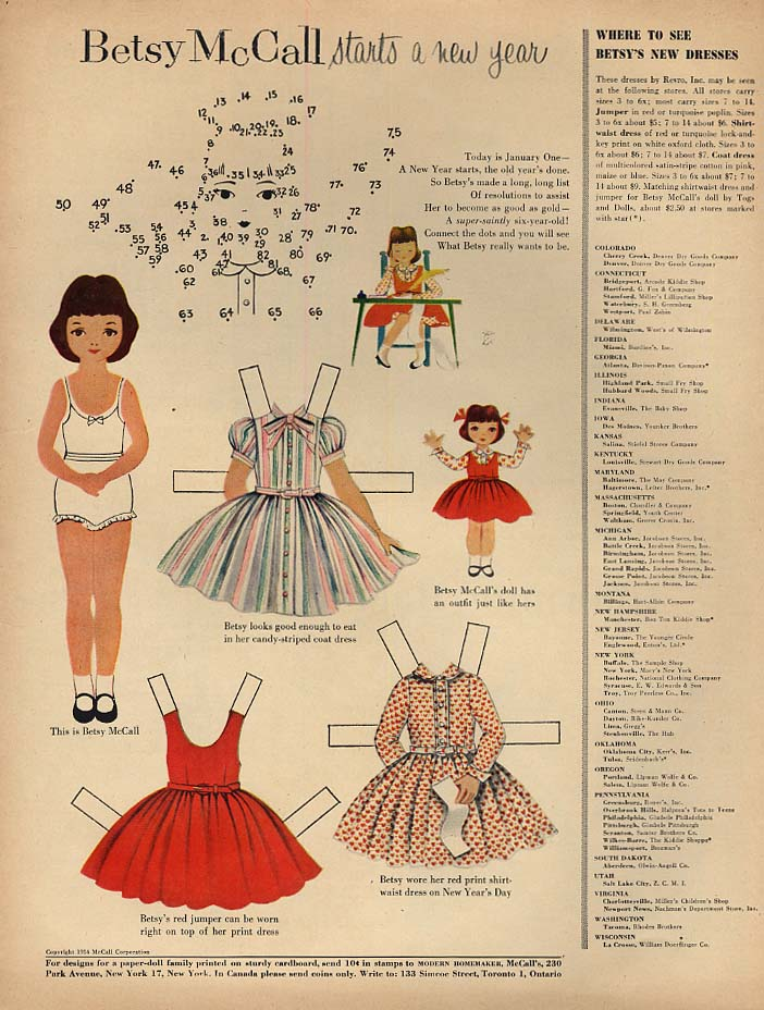 Image for Betsy McCall starts a new year paper doll page 1 1955
