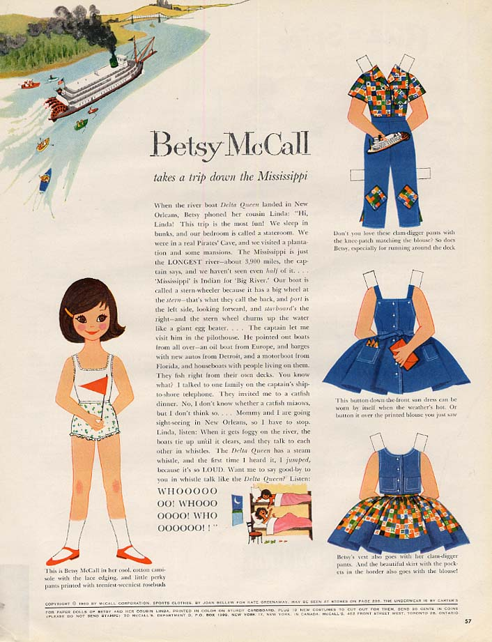 Image for Betsy McCall takes a trip down the Mississippi paper doll page 5 1960