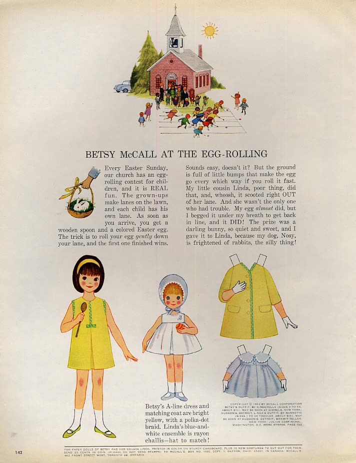 Betsy McCall at the Egg-Rolling paper doll page 3 1964