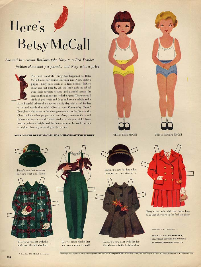 Betsy McCall & her cousin Barbara take Nosy paper doll page 10 1951