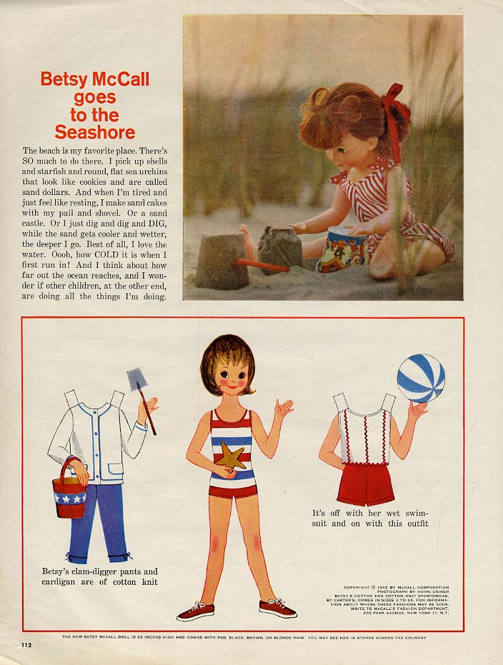 Image for Betsy McCall goes to the Seashore paper doll page 7 1962