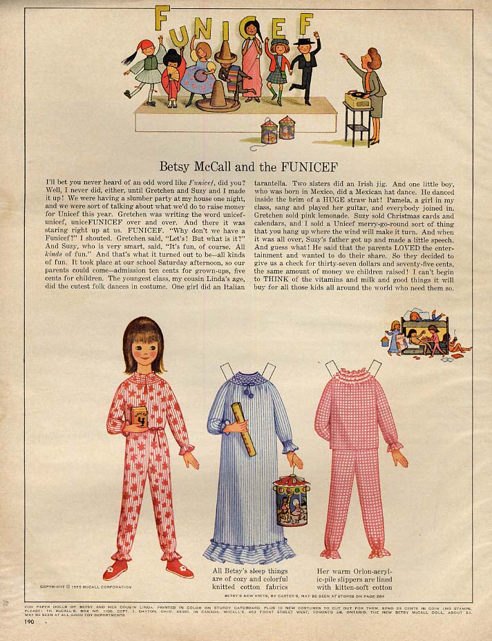 Betsy McCall and the FUNICEF paper doll page 10 1965