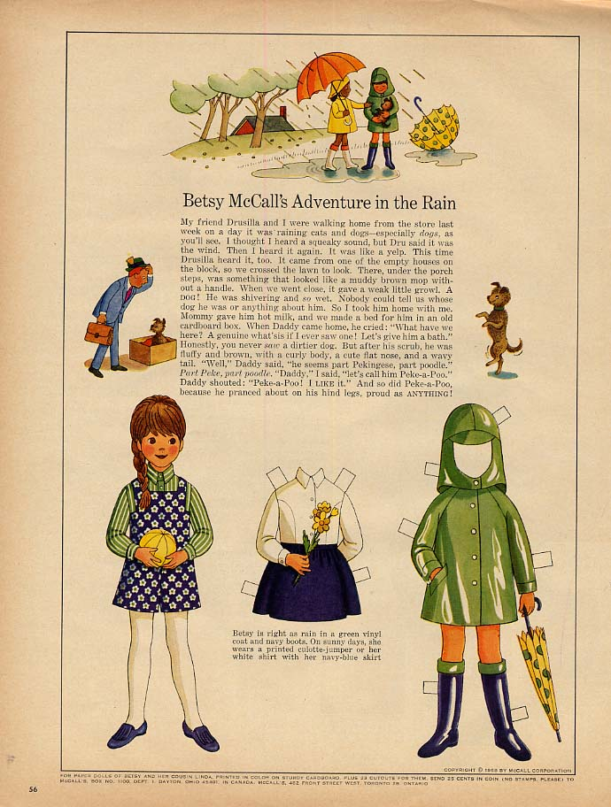Image for Betsy McCall's Adventure in the Rain paper doll page 9 1968