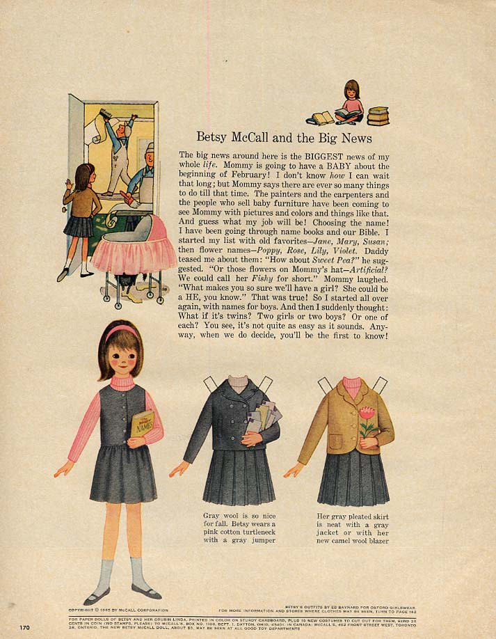 Betsy McCall and the Big News paper doll page 9 1965