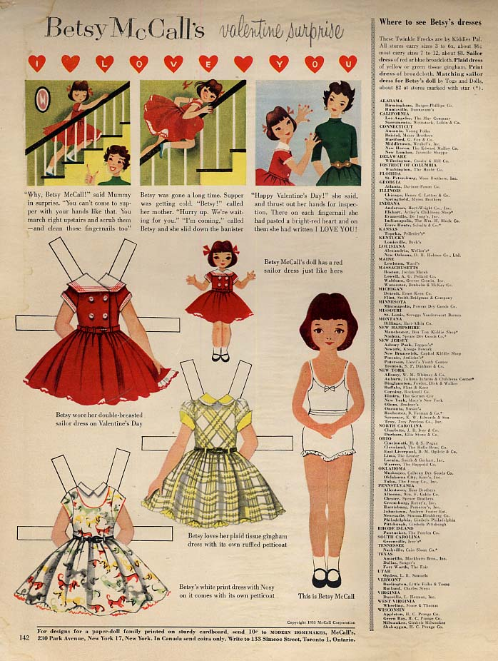 Image for Betsy McCall's Valentine Surprise paper doll page 2 1955