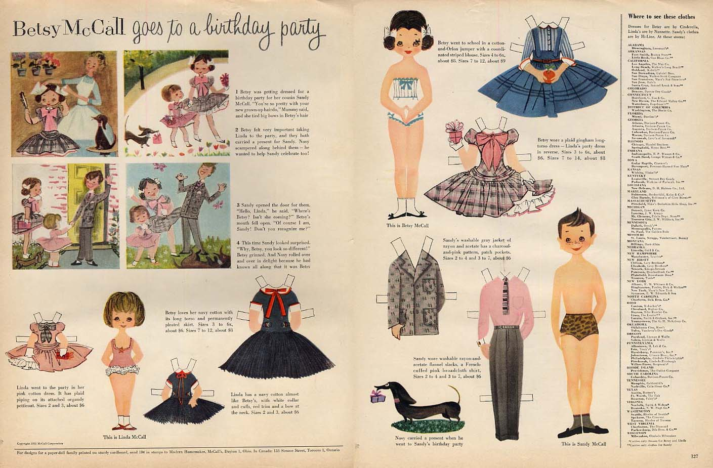 Image for Betsy McCall goes to a birthday party paper doll page 8 1955
