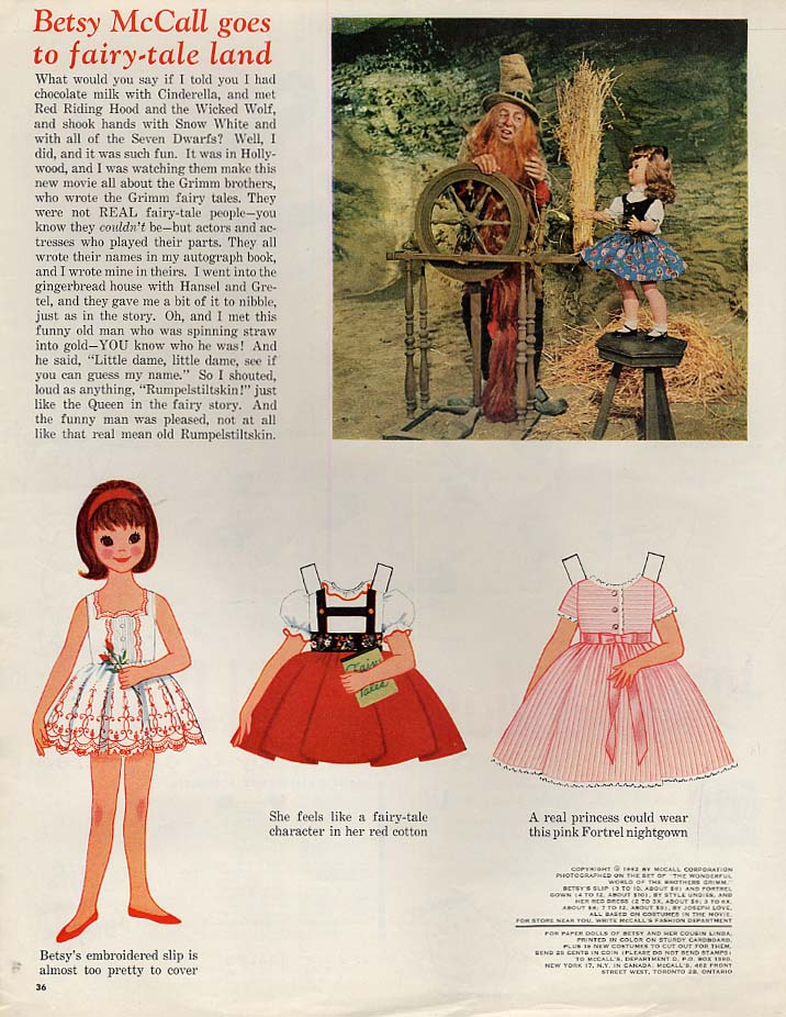 Image for Betsy McCall goes to fairy-tale land paper doll page 8 1962