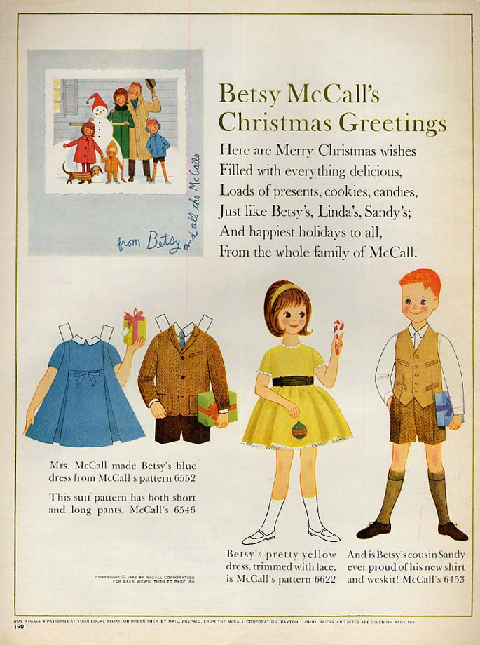 Image for Betsy McCall's Christmas Greetings paper doll page 12 1962