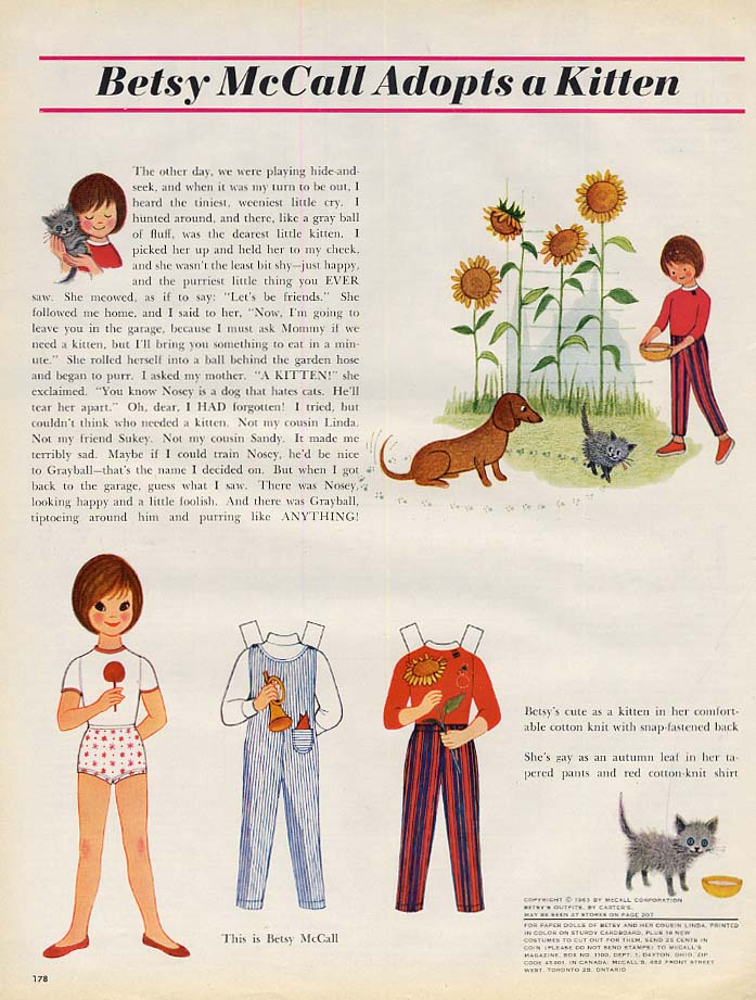 Betsy McCall Adopts a Kitten paper doll page 9 1963