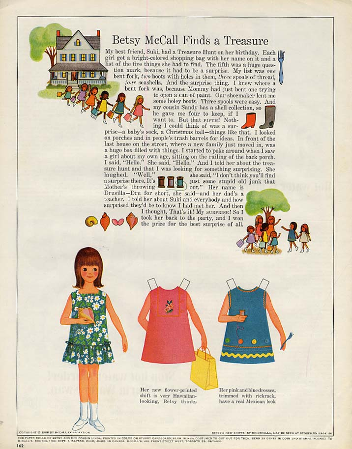 Image for Betsy McCall Finds a Treasure paper doll page 6 1966