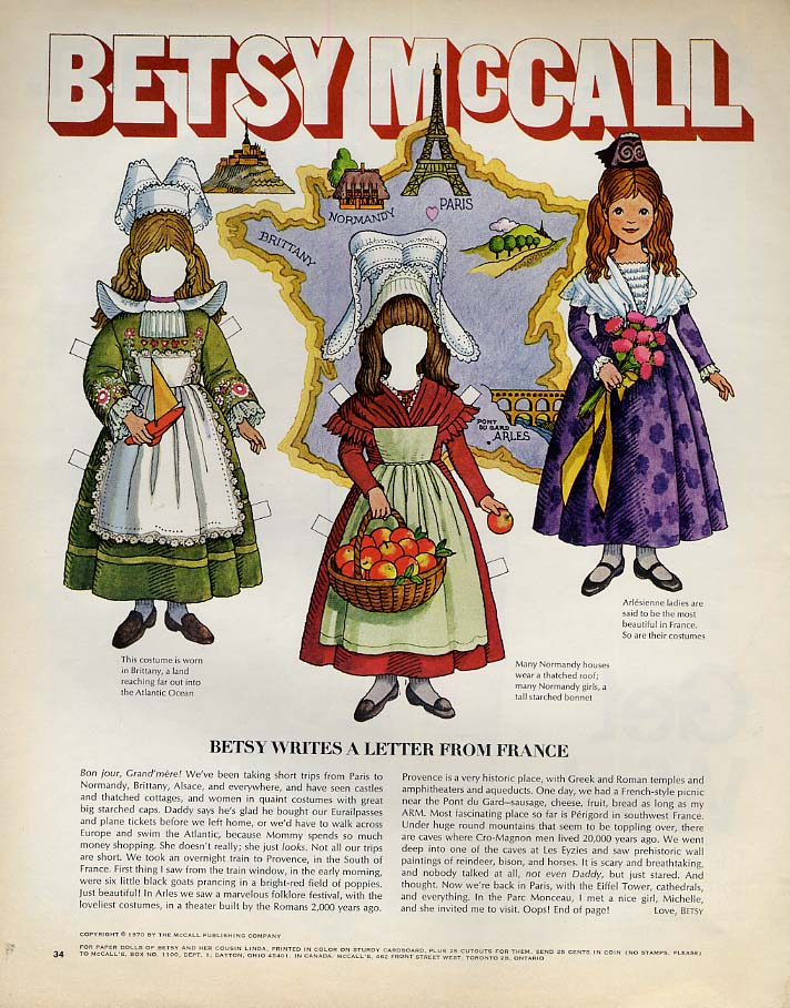 Image for Betsy McCall writes a letter from France paper doll page 7 1970