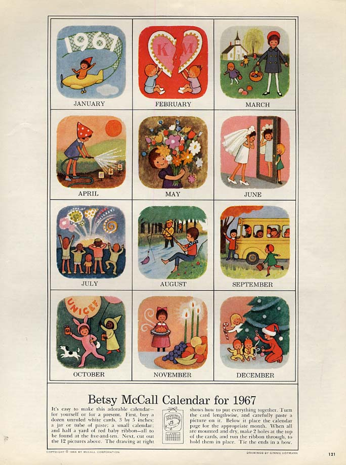 Image for Betsy McCall Calendar for 1967 paper doll page