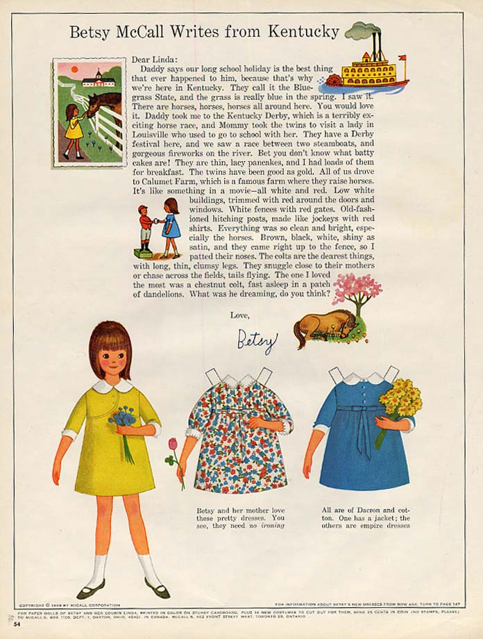 Image for Betsy McCall Writes from Kentucky paper doll page 5 1966
