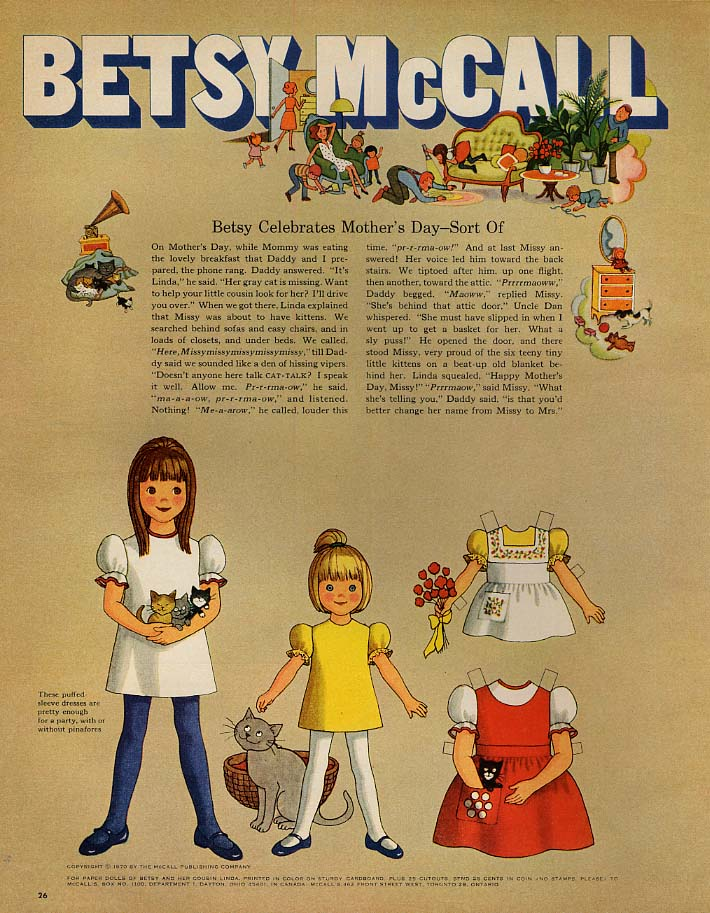Image for Betsy McCall Celebrates Mother's Day - Sort of paper doll page 5 1970