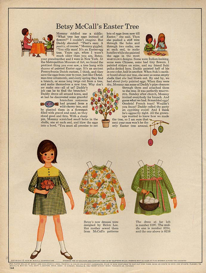 Image for Betsy McCall's Easter Tree paper doll page 4 1966