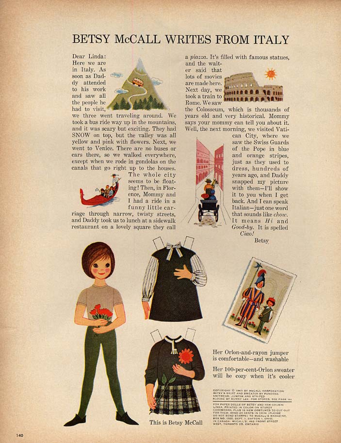 Image for Betsy McCall Writes from Italy paper doll page 8 1963