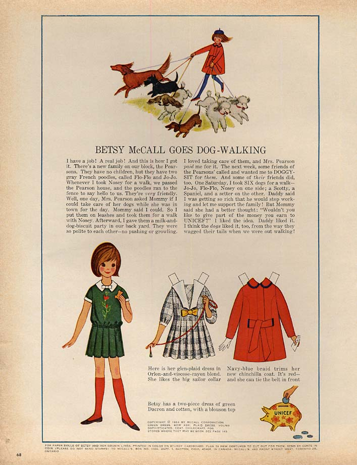 Image for Betsy McCall goes Dog-Walking paper doll page 8 1964
