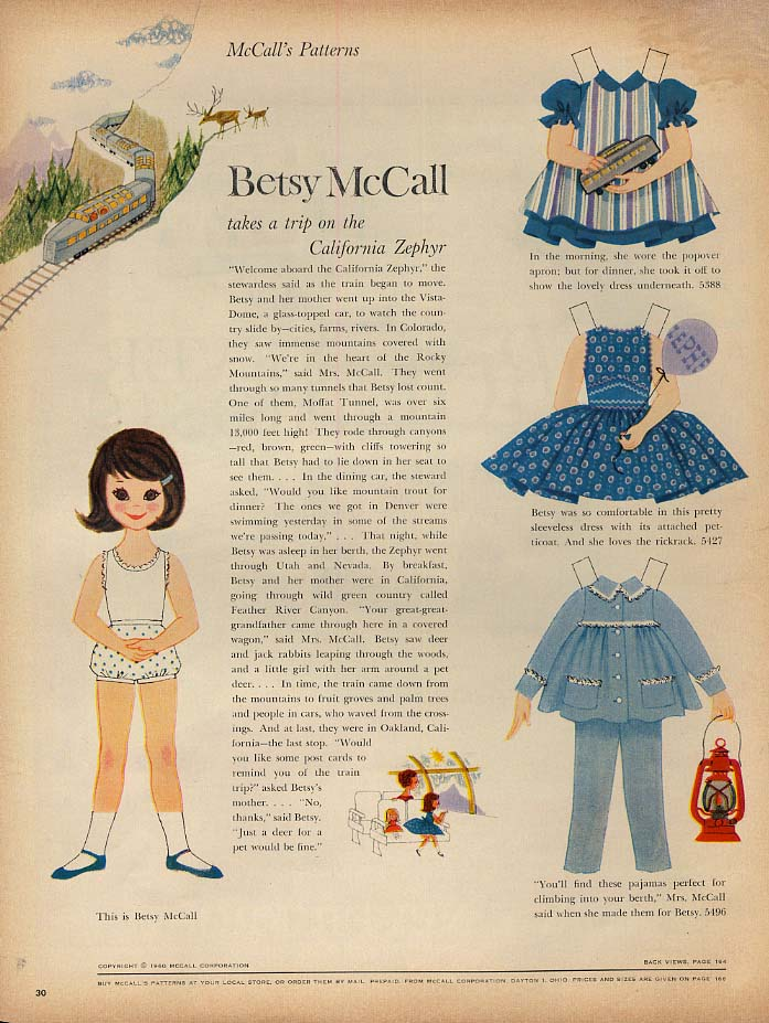 Image for Betsy McCall takes a trip on the California Zephyr paper doll page 7 1960