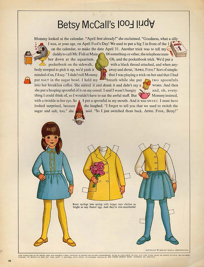 Image for Betsy McCall's April Fool paper doll page 4 1968
