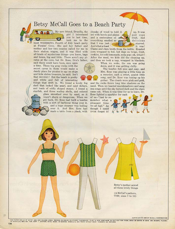 Image for Betsy McCall Goes to a Beach Party paper doll page 8 1966