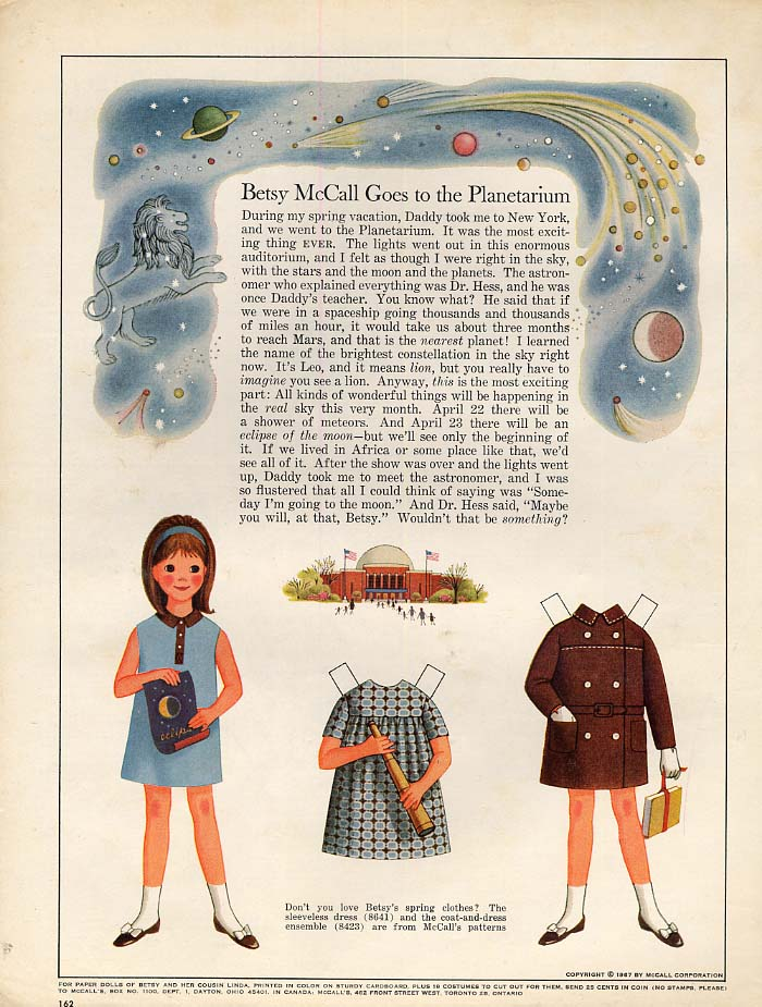 Image for Betsy McCall Goes to the Planetarium paper doll page 4 1967