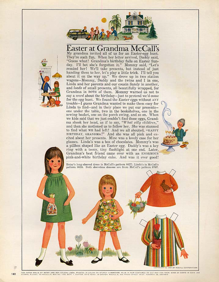Image for Betsy McCall Easter at Grandma McCall's paper doll page 3 1967