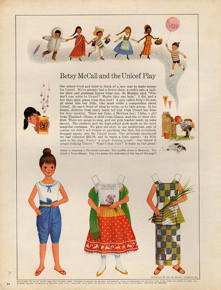 Betsy McCall and the UNICEF Play paper doll page 10 1967